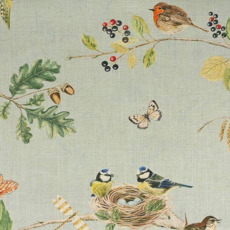 Woodland Chorus Fabric - Sky Blue/Multi (225509) - Sanderson Woodland Walk Fabrics Collection
