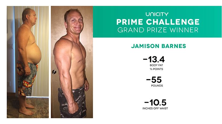 UNICITY PRIME CHALLENGE OF JAMISON BARNES  AUGUST 6, 2015   UNICITY GRAND PRIZE WINNER!!!! We are pleased to announce our Prime Challenge contest winners! We applaud everyone who participated this quarter, and encourage all to participate again...  Learn more about how Jemison made is life better at: http://www.unicity.com/usa/local/prime-challenge-contest-winners-q2-2015/