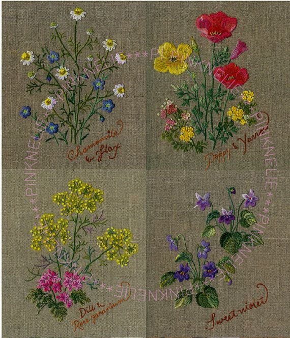 Herb Embroidery on Linen vol3 Craft Book by PinkNelie on Etsy