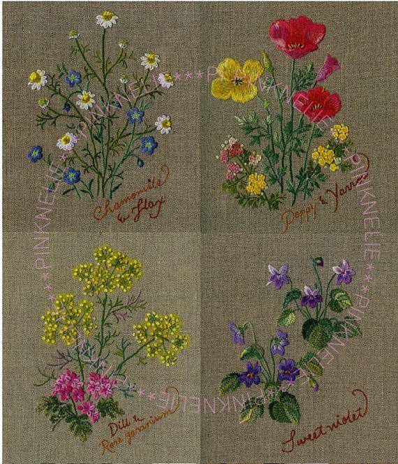 Hierba de bordado en el lino vol3 Artesanía japonesa Reservación PinkNelie