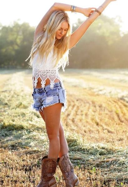 My Summer cowgirl-like look Collection // Free People jeans shorts white skirt and Napa Flex ...