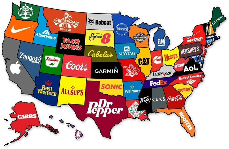The most famous brand states have produced. This is perfect for discussing imports and exports within the United States, the impact of industries on local jobs, and the trend toward overseas buy-outs.