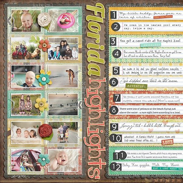 12 - I adore this layout and the numbered highlights.  Use this as an inspiration for your own numbered highlights page. - 1 pt