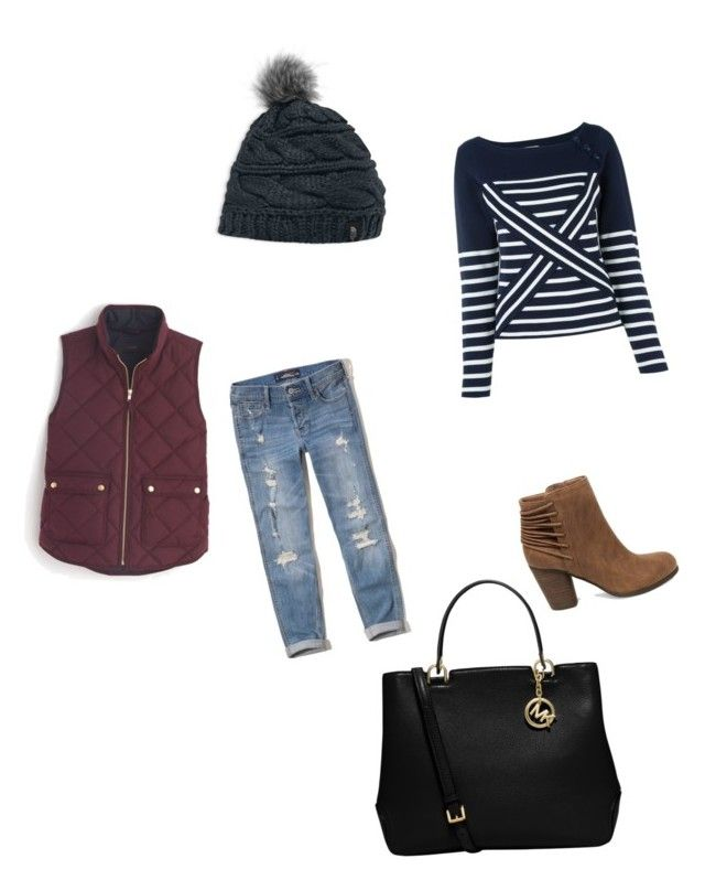 """""""Wintery Day"""" by meenypie ❤ liked on Polyvore featuring Tommy Hilfiger, The North Face, Steve Madden, Hollister Co., J.Crew and MICHAEL Michael Kors"""