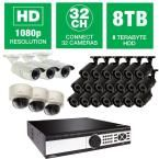 Q-SEE 32-Channel 1080p 8TB Video Surveillance System with (20) Bullet Cameras, (3) Dome Cameras and (3) Auto-Focus Cameras