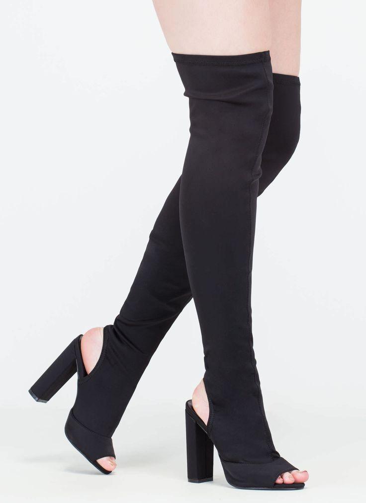 For Miles Thigh-High Peep-Toe Boots  #gojane #sockboot #sock #boot #peeptoe #ootn