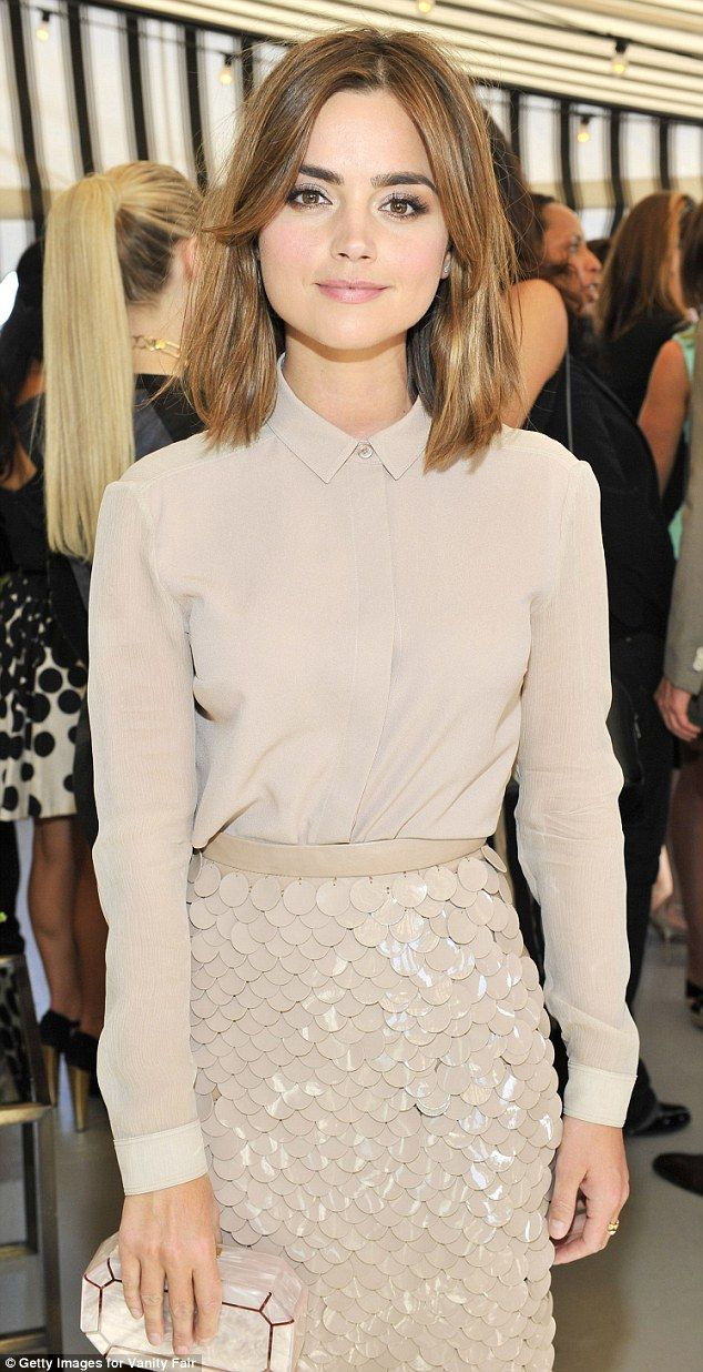 Beauty in beige: Actress Jenna Coleman looked stylish in an all nude-coloured ensemble including a maxi skirt featuring a sequined detaiing