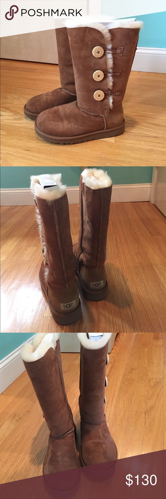 WORN ONCE BAILEY BUTTON TRIPLET UGG BOOTS Worn once! Bailey button triplet, in chestnut. Amazing condition, the fur is still fluffy inside. COMES WITH THE ORIGINAL BOX UGG Shoes