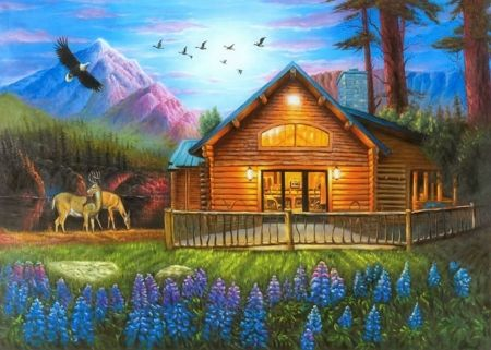 drawings nature pictures, cabin and deer  Cozy Cabin in Living\u2605  Mountains \u0026 Nature Background