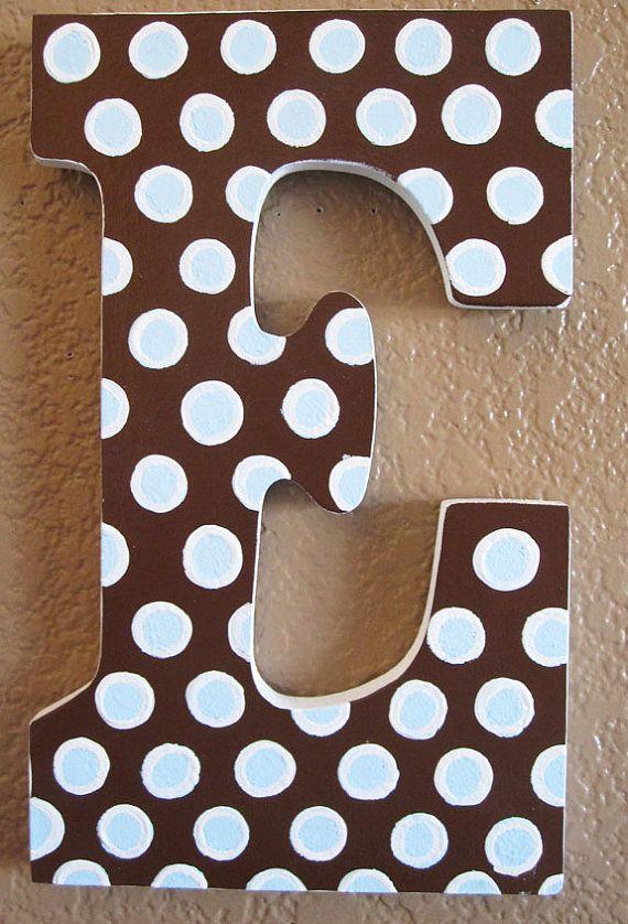 Wood Nursery Letters Brown Blue Polka Dots by MurrayDesignShop