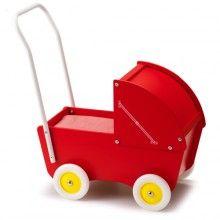 Micki // Rode houten poppenwagen met kap, Micki