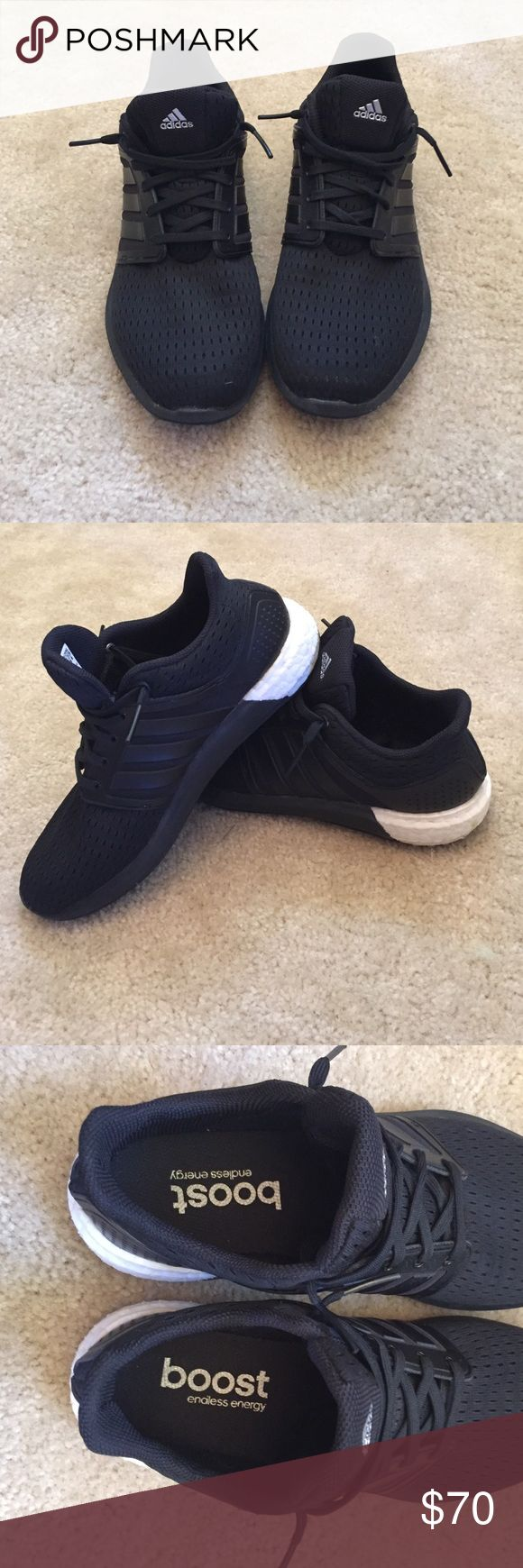 Black Adidas boost shoes All black shoe. Mesh material around toes. Only worn twice. Men's size 7 women size 8.5 adidas Shoes Athletic Shoes