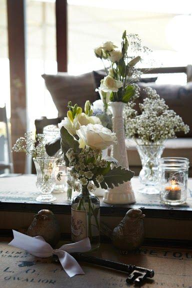 Wedding table decorations, vintage wedding ideas - Frogmore Creek Wines