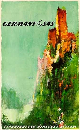Germany by SAS Scandinavian Airlines System Travel Poster 1950s