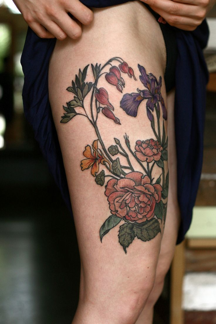 133 best tattoo images on pinterest leaves botanical tattoo and wonderland tattoos alicecarrier finished up this brambly thigh izmirmasajfo Images
