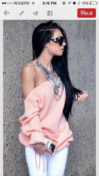 sweater off the shoulder sweater off the shoulder top pastel pink girly
