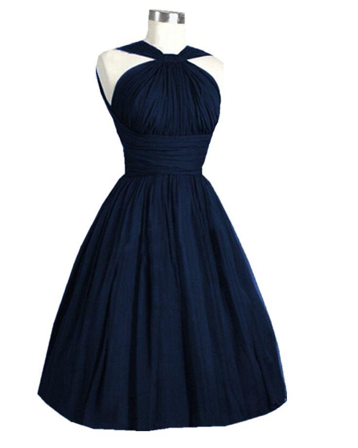 Olivia's Halter A Line Open Back Knee Length Bridesmaid Dresses Cheap ** Additional info  : Bridesmaid Dresses