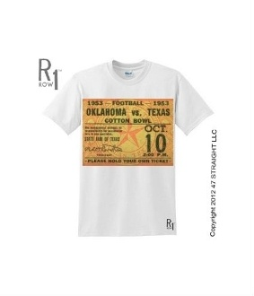 Oklahoma football gifts. 1953 OU football ticket tee by ROW 1™ made from an authentic Oklahoma vs. Texas football ticket. The first win of Oklahoma's NCAA record 47 game win streak. http://www.shop.47straightposters.com/1953-OKLAHOMA-VS-TEXAS-Football-Ticket-Shirt-53OKLATX.htm