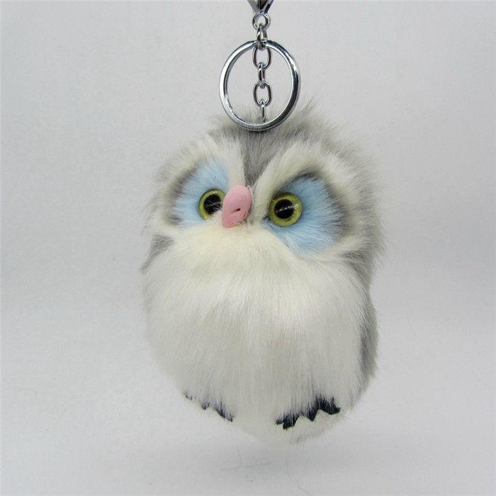 New Fashion 15cm Faux Rabbit Fur Pom Pom Owl Key Chain Women Bag Charms Keychain Female Car Key Ring Jewelry Trinket Man Keyring (13)