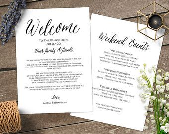 Wedding Welcome Letter Bag By Myprintablepaperie