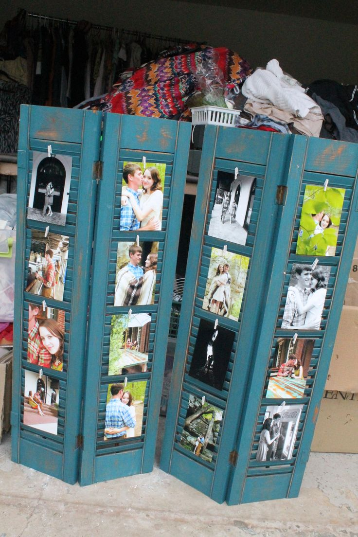 I refurbished old shutters we had lying around and now they are displaying our engagement pictures! :) I will probably use these as a backdrop behind our wedding cake. Sorry for the yard sale stuff in the background. :P                                                                                                                                                                                 More