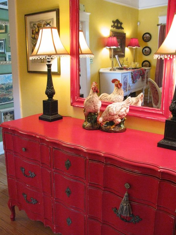 Dresser painted red. Have my childhood dresser in the attic room.....hmmm...just may have to paint it...if I can bring myself to....lol....