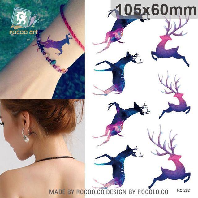 Harajuku su geçirmez geçici dövmeler kadınlar için Güzel Renkler run geyik tasarım flaş dövme sticker Ücretsiz Kargo RC2262