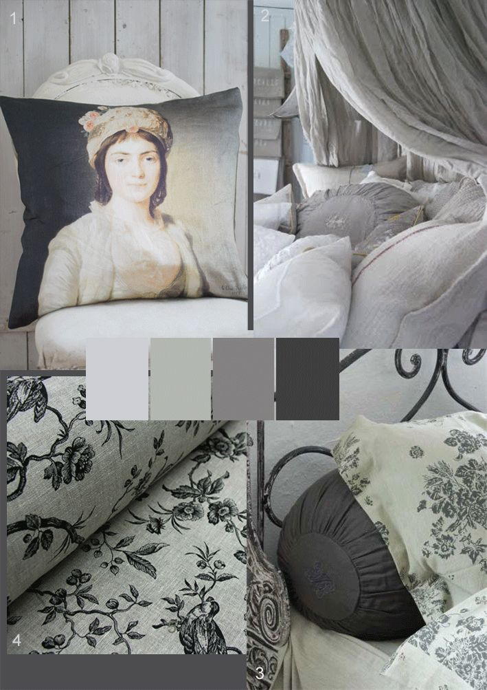 Soft grey colour palette for a romantic mode. would like to see a touch of pale pink or lilac
