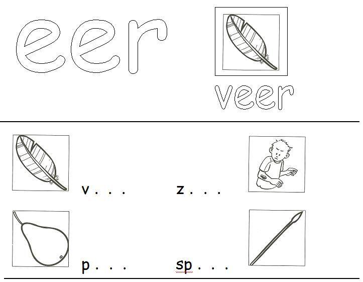 """Werkbladen voor het """"lees/spelling-probleem"""" -eer, -oor en -eur. Ik heb deze materialen ooit gemaakt in aanvulling op de aanvankelijk leesmethode Leeslijn. Je vindt ze in de leermiddelendatabase van digischool: http://leermiddel.digischool.nl/po/leermiddel/9d293d2539ef1f7b854cd19149b0e34b?s=3.2"""