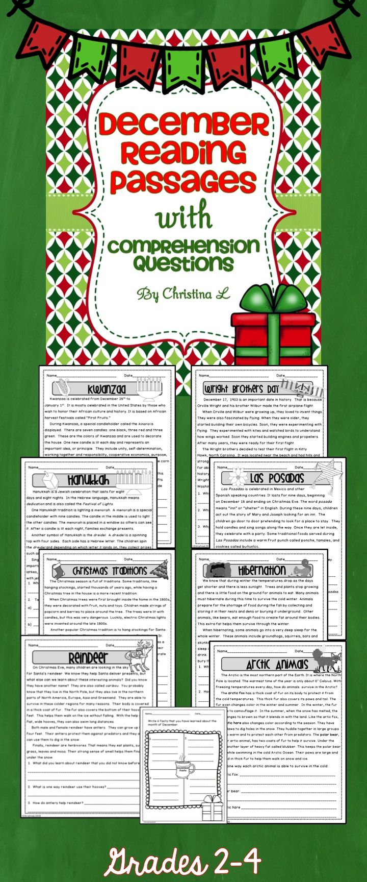 Fun non-fiction December reading passages! Great for warm ups, homework or reading groups. Reading include Kwanzaa, Las Posadas, Hanukkah, Christmas Traditions, Reindeer, Arctic Animals, Wright Brothers Day, Hibernation $