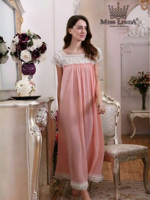 New MISS LINDA Summer Collection - Silk Elegance Long Nightgown - #follow #like #cute #Silk #babydoll #Sleepwear #nightgowns #MISSLINDA