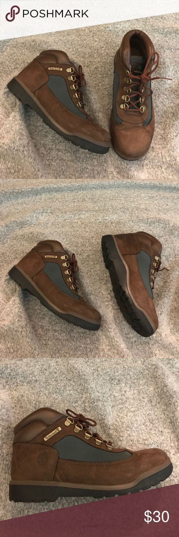 Timberland Boots Green / Brown Timberland boot is perfect for any hiking , biking and even casual wear. Very comfortable & worn in. Timberland Shoes Winter & Rain Boots