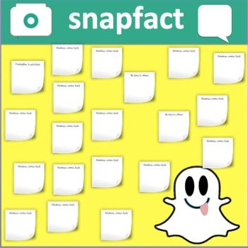 "The premise behind this Snapfact board/space is to allow for students to reflect on a day's lesson. This bulletin board features 6 1/2"" letters that can be cut out to say snapfact. Letters have been color matched to the actual snapchat color scheme. An adorable ghost, camera and speech bubble is also included.Exit boards can reflect a specific question asked by a teacher, can ask students to simply rate their understanding numerically or even ask students to briefly summarize a concept or…"