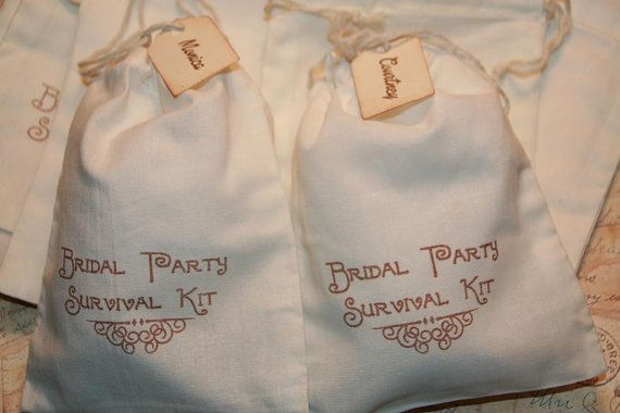 Bridal Party Survival Kit Bags, DIY Bridal Party Survival Bags, Personalized Name Tag, Maid of Honor, Groomsmen, Bridesmaid Favor Bags