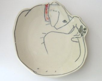 Made-To-Order Dessert Plate Shy Pup bread by EarlyBirdDesignsShop