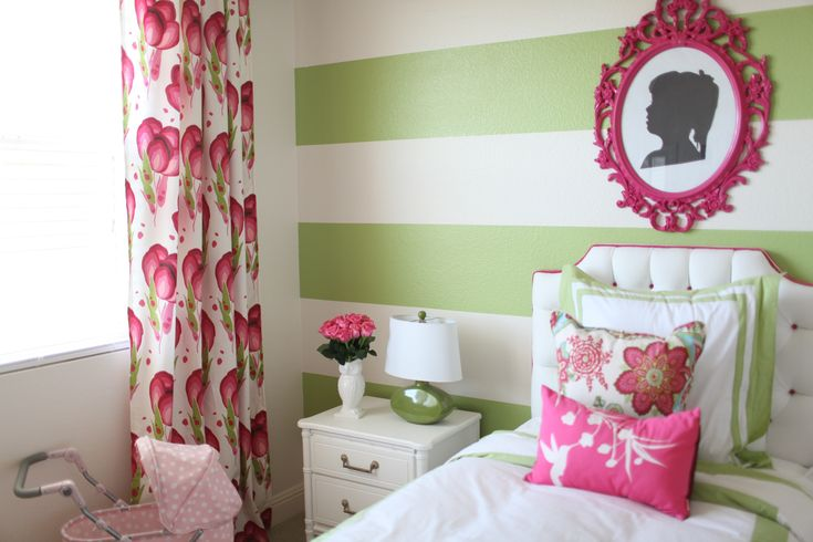 Preppy, Modern Pink & Green Girl's Room