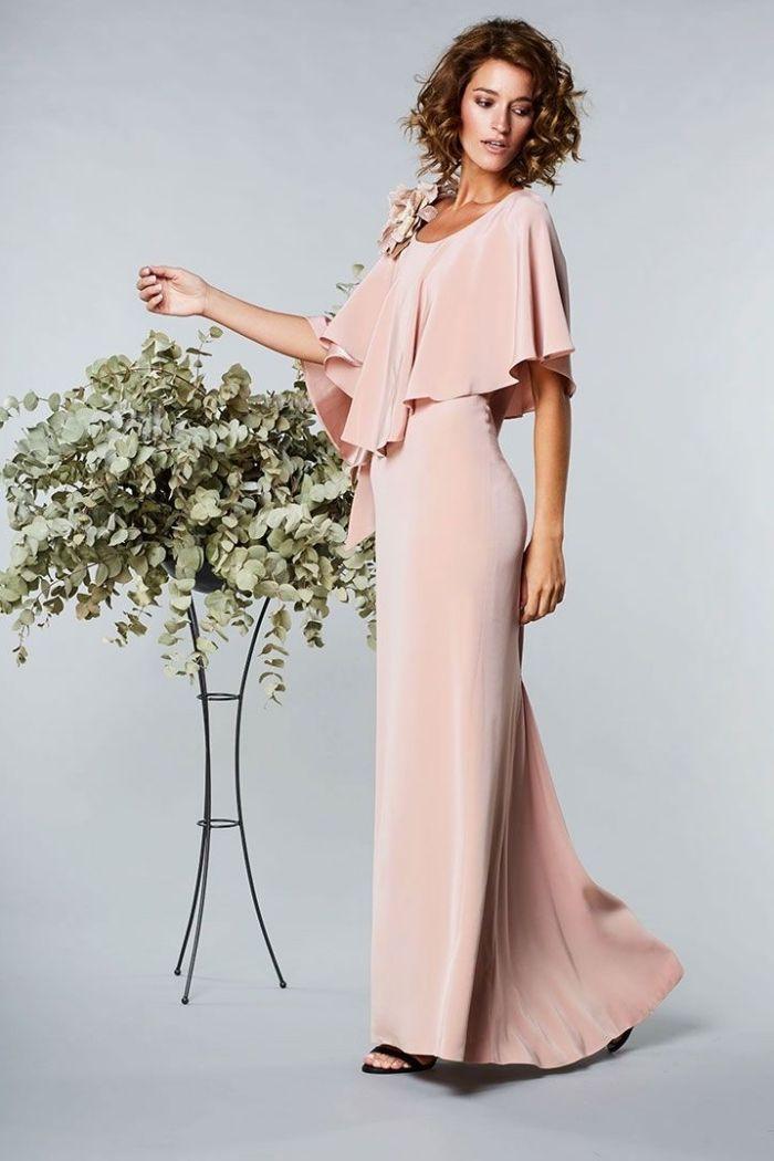 22b8e74706 robe temoin de mariage, modèle de robe élégante et longue en couleur rose  pastel,