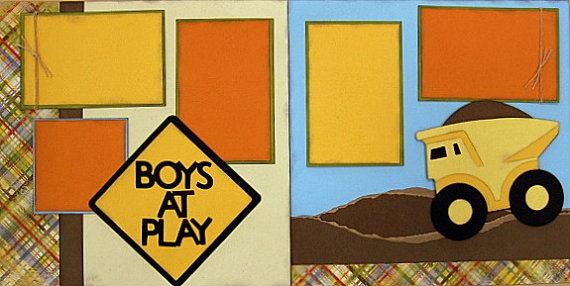 Boys At Play 2page 12x12 doityourself scrapbook by DownMemoryLane, $7.00