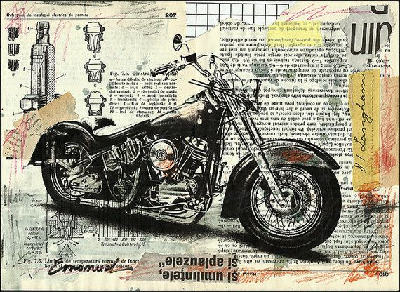 Harley Davidson bike Fine Art PRINT Illustration Gift Collage Mixed Media Painting By Mirel E.Ologeanu