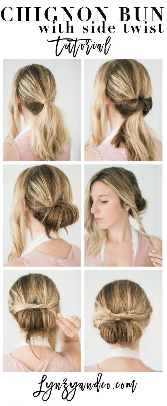Simple Hair Tutorial // Chignon Bun with Twist - Lynzy & Co