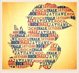 Instead of repeating rock chalk jayhawk put in a bunch of other words but still in the shape of a jayhawk