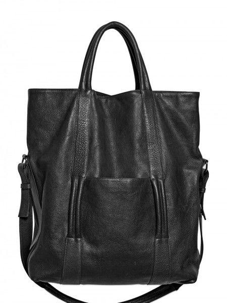 Maison Martin Margiela Black Textured Leather Tote Bag