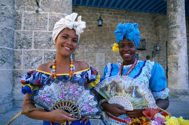 Beautiful Afro-Cuban wome in their traditional dress