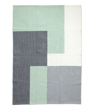 Mint green/gray. Rectangular rug in jacquard-weave cotton fabric.