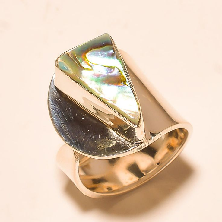 92.5% SOLID STERLING SILVER UNIQUE ABALONE SHELL NICE RING (Adjustable)  #Handmade