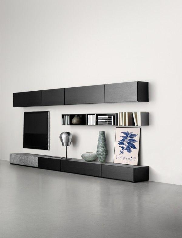 Lugano Designer wall-mounted TV unit - black