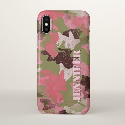 Custom Military Green Pink Camouflage Pattern iPhone X Case - elegant gifts gift ideas custom presents