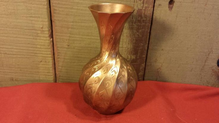 Vintage Brass Vase, Etched Brass Vase, Small Brass Vase by 3OaksTreasure on Etsy