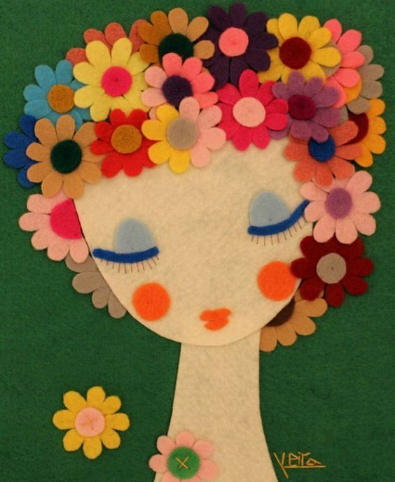 Handmade Felt Portrait Woman Felt Artwork Wall Hanging by Gaoui, $170.00: