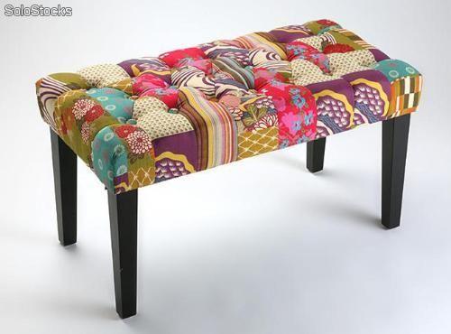 Banqueta tapizada patchwork